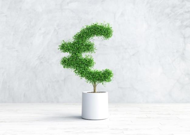 Planta verde com a forma de um símbolo da moeda euro em uma panela