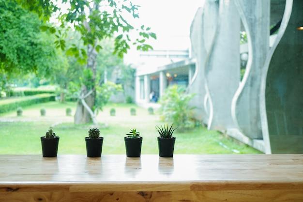 Planta verde em um vaso de flores em uma mesa de madeira
