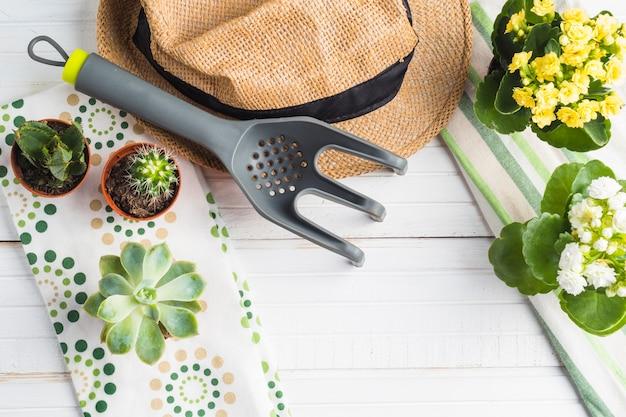 Planta vívida em vaso com garfo de jardinagem, chapéu sobre a mesa