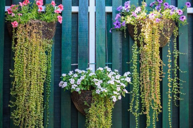 Plantador de flores pendurado na parede de madeira