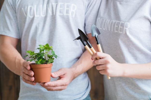 Plantando voluntários. cuidado e proteção da natureza. casal com planta de casa e ferramentas de jardim.
