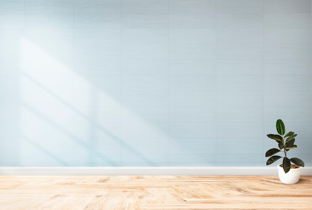 Plantar contra uma maquete de parede azul