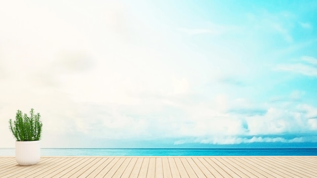 Plantar no terraço vista para o mar - renderização em 3d