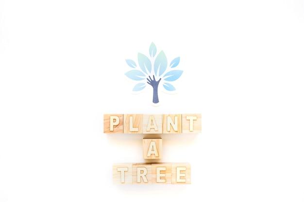 Plantar uma árvore palavras e árvore de papel