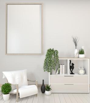 Plantas brancas do armário, do quadro, da cadeira e da decoração rendição do zen style.3d