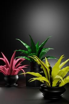Plantas caseiras com folhas coloridas em um fundo escuro. ilustração 3d criativa. lugar para texto