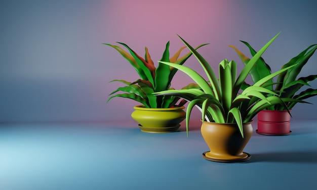 Plantas caseiras em vasos coloridos em um fundo brilhante. lugar para o seu texto. ilustração 3d