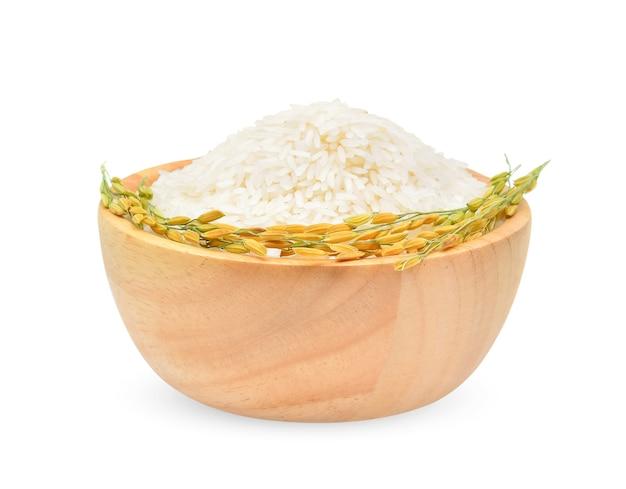 Plantas de arroz, grãos de arroz jasmim tailandês em uma tigela de madeira isolada no branco