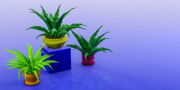 Plantas de casa em vasos coloridos sobre um fundo azul. lugar para o seu texto. ilustração 3d