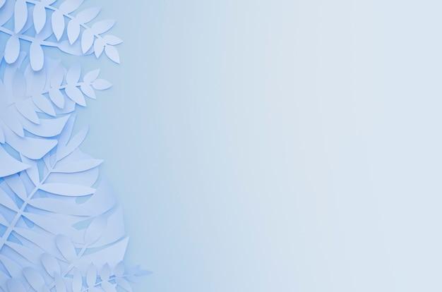 Plantas de papel exóticas de origami em fundo gradiente azul