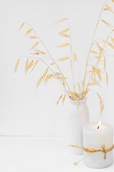 Plantas decorativas secas no vaso cerâmico, queimando velas no fundo branco