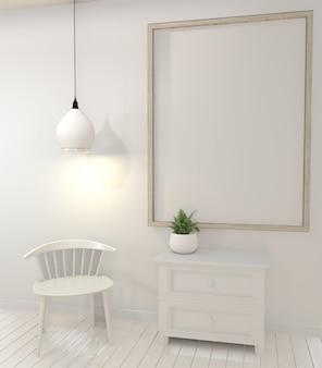 Plantas do quadro e do armário e da decoração do cartaz no projeto mínimo da sala branca.