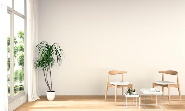 Plantas e cadeira paisagem na janela. 3d render