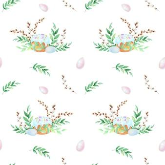Plantas em aquarela desenho padrão sobre fundo branco. conceito de páscoa.