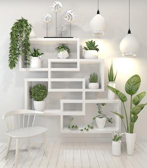 Plantas em design de parede design minimalista de prateleira.