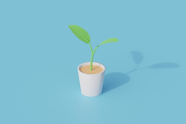 Plantas em vaso único objeto isolado. renderização 3d