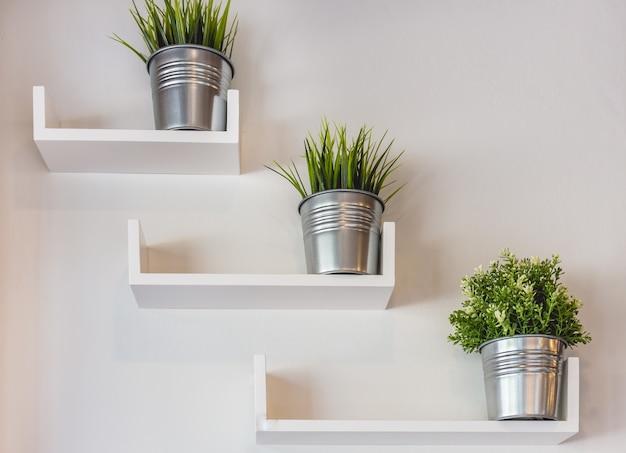 Plantas em vasos de prata na parede branca