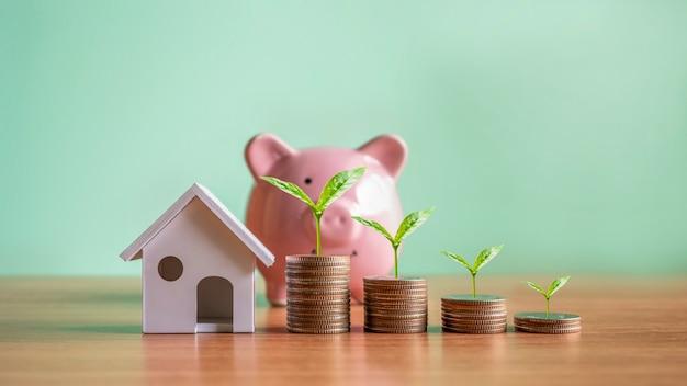 Plantas que crescem em pilhas de moedas e modelos de casas simulam ideias de investimento imobiliário
