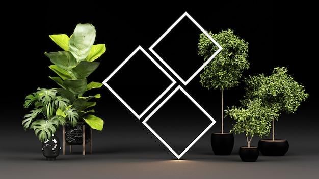 Plantas verdes em vasos de mármore preto com moldura de luz led brilhante