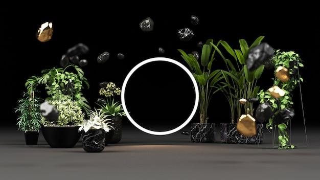Plantas verdes em vasos de mármore preto e ouro com uma renderização de moldura de luz led brilhante