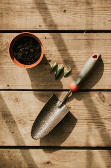 Plante vasos e sementes com espátula na mesa de madeira