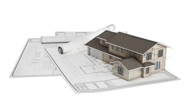 Plástico e projeto de casa no papel