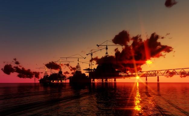 Plataforma a pouca distância do mar do óleo e do equipamento no tempo do por do sol. construção do processo produtivo no se