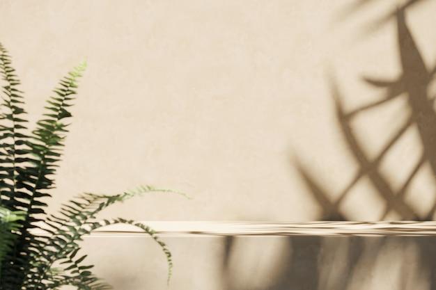 Plataforma bege e borrão primeiro plano de plantas tropicais, sombra do guarda-sol na parede. fundo abstrato para apresentação de produtos ou anúncios. renderização 3d