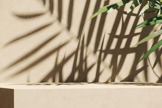 Plataforma bege e primeiro plano de plantas tropicais, sombra do guarda-sol na parede. fundo abstrato para apresentação de produtos ou anúncios. renderização 3d