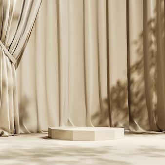 Plataforma bege na cena da cortina bege, guarda-sol e sombra de árvores no fundo. abstrato para apresentação de produtos ou anúncios. renderização 3d