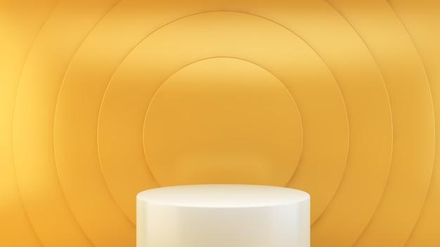 Plataforma branca em renderização 3d de fundo amarelo