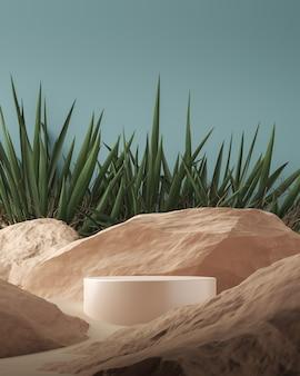 Plataforma cilíndrica bege brilhante sobre rochas e cenário tropical