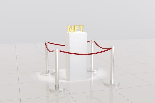 Plataforma com a sigla nft em três dimensões em um museu.