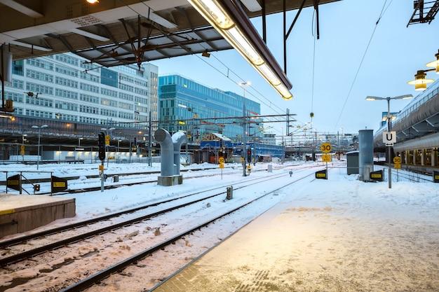 Plataforma da estação ferroviária central de estocolmo
