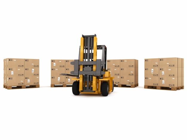 Plataforma de carregamento de pequenas gruas de caixas embaladas