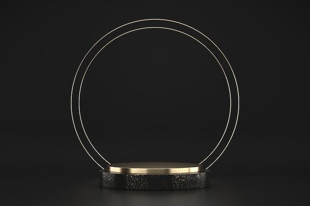 Plataforma de estágio abstrato preto e dourado, modelo para produto de publicidade, renderização em 3d.