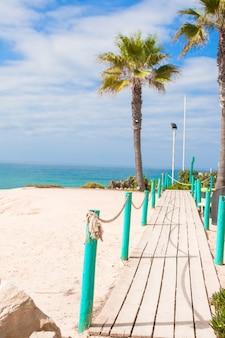 Plataforma de madeira no caminho para o mar de palmeiras na praia branca