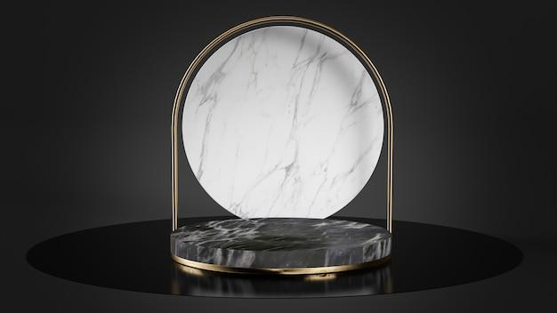 Plataforma de mármore preto e branco com pedestal de formas douradas renderização em 3d