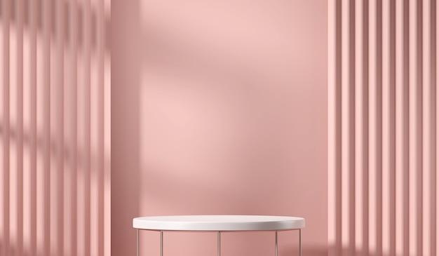 Plataforma de mesa branca para produto presente com fundo de cortina rosa suave