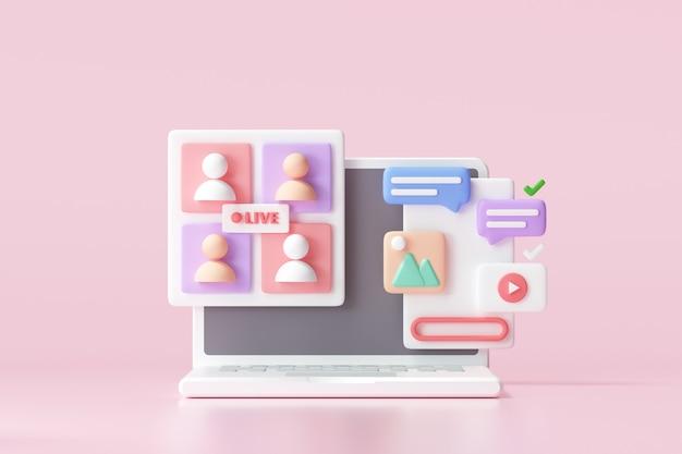 Plataforma de mídia social 3d, conceito de aplicativos de comunicação social online, emoji, página da web, ícones de pesquisa, bate-papo e gráfico com fundo de smartphone. ilustração 3d