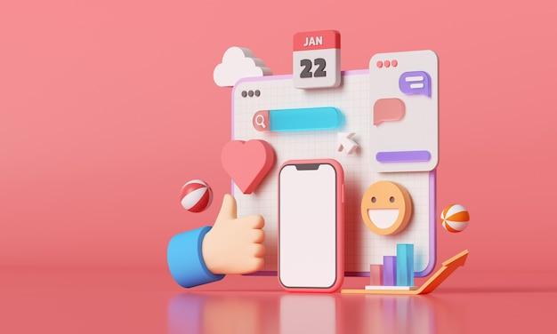 Plataforma de mídia social 3d, conceito de aplicativos de comunicação social online, emoji, página da web, ícones de pesquisa, bate-papo e gráfico com smartphone. renderização 3d