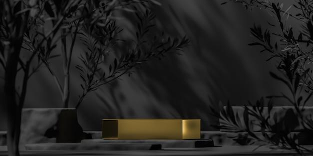 Plataforma de ouro para apresentação de produtos mockup black scene e sombras de guarda-sol