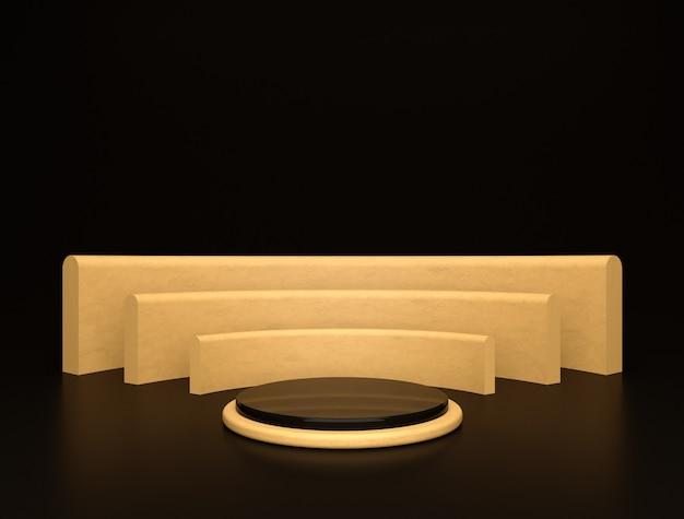 Plataforma de palco dourada luxuosa em preto e dourado, forma cilíndrica de elegância da exposição do produto.