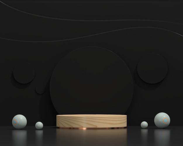 Plataforma de pódio de palco abstrato preto e madeira para exibição de produtos com renderização em 3d