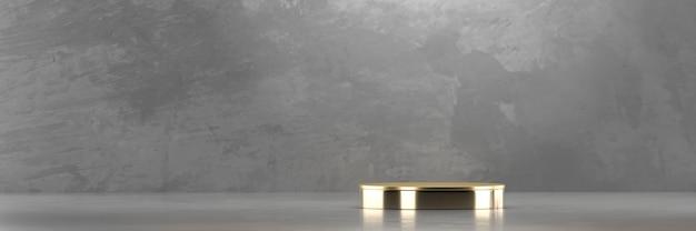 Plataforma de pódio de palco dourado para exibição de produtos de publicidade com renderização 3d de fundo de concreto