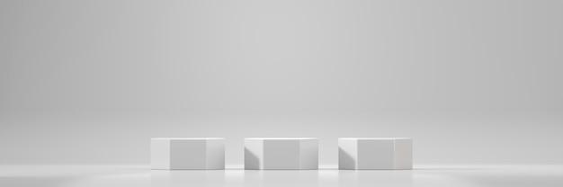 Plataforma de pódio em hexágono branco para exibição de produtos de publicidade renderização em 3d