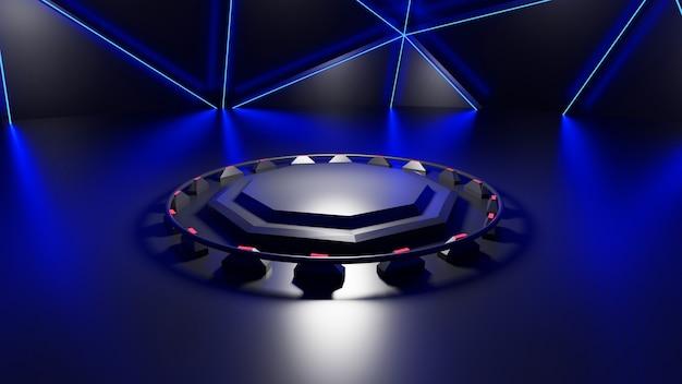 Plataforma de renderização 3d azul halo brilho preto