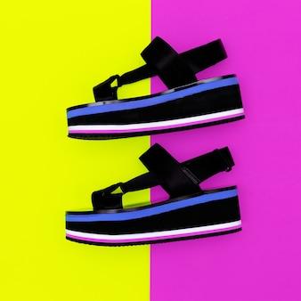 Plataforma de sandálias da moda estilo minimalista de verão