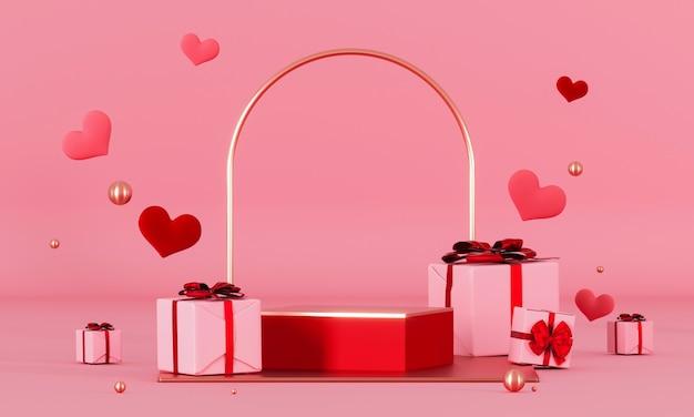 Plataforma do pódio do dia dos namorados para colocação de produtos com decorações