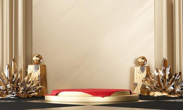 Plataforma dourada luxuosa abstrata da fase da elegância, para anunciar a exposição dos produtos, rendição 3d.